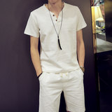 Summer linen short-sleeved T-shirt shorts suit men's cotton and linen leisure suit large size micro fat teen shirt tide