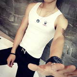 Beach new vest men's summer sweat vest tight sleeveless shirt fashion printing trendy men's fitness leisure trend