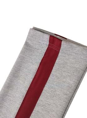 春夏秋季灰色全棉松紧高腰运动裤镶酒红宽边条直筒大码男女生长裤