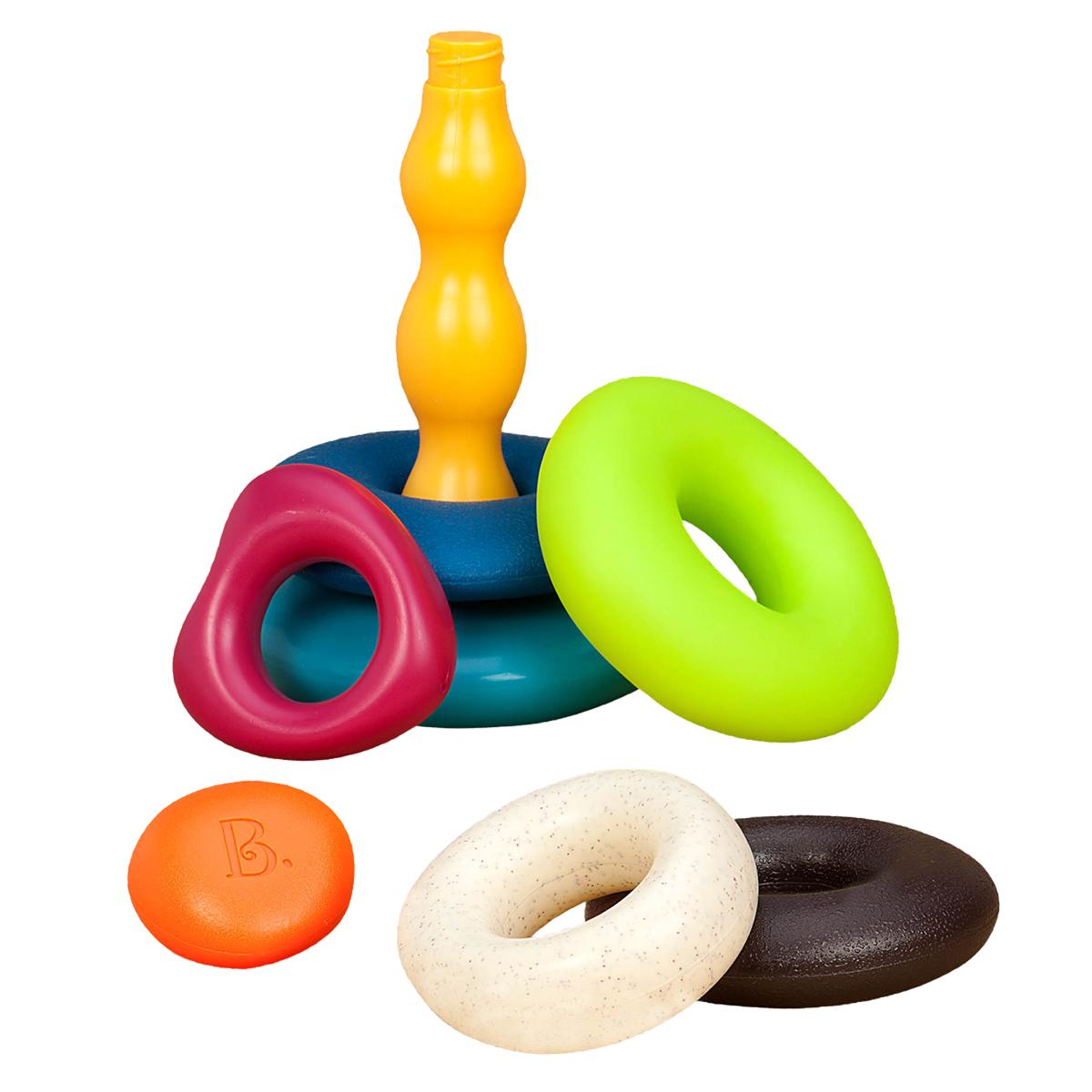 美国B.Toys 叠叠环堆叠玩具 儿童益智叠叠乐婴儿动手玩具多彩套圈