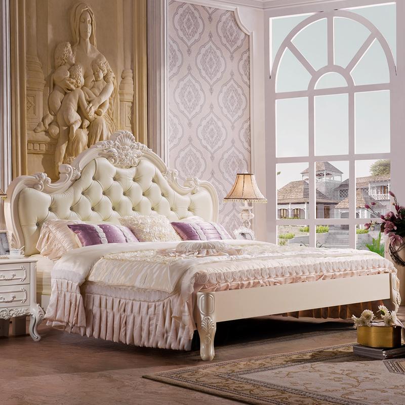 约翰华兰 家具欧式实木床法式公主双人床真皮高箱储物婚床1.8米G2