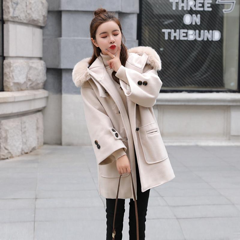 冬季牛角扣大衣女中长款韩版学生2018新款中长款反季毛呢外套宽松