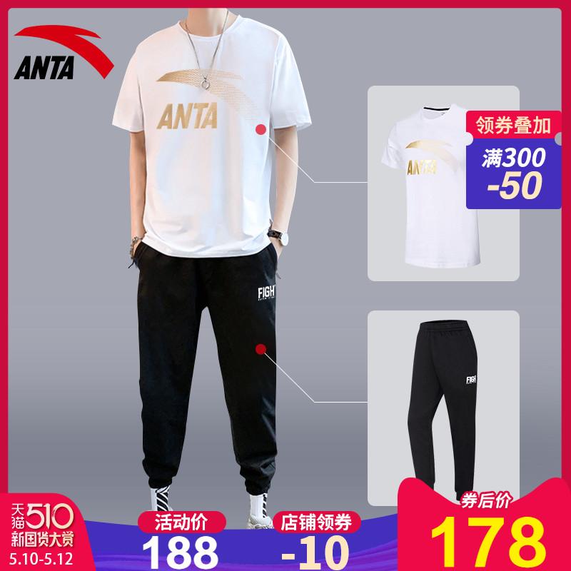安踏运动套装男2020夏季韩版潮流短袖小脚裤休闲衣服装男士两件套