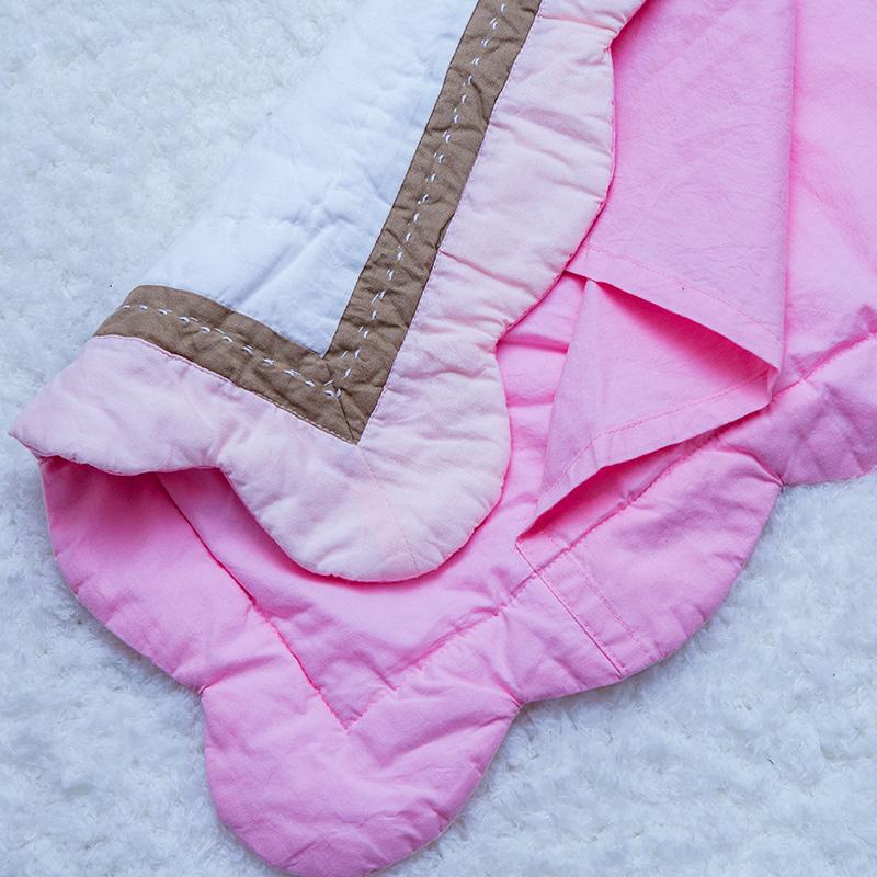 全棉貼布繡粉色花邊皇冠兒童乳膠枕頭套手工絎縫加厚午睡小枕套