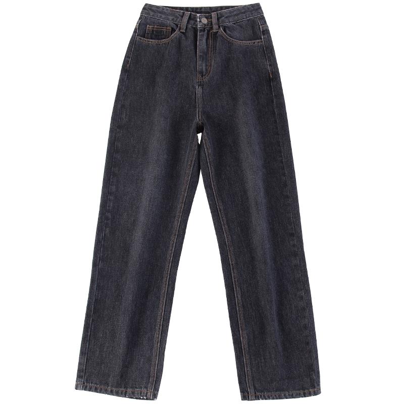 尔给日系cec老爹裤子怪味原宿风烟灰色卷边直筒牛仔裤女宽松复古