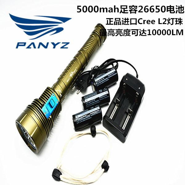 LED專業潛水手電筒超強光7燈9燈L2 遠射水下26650充電防水超強光