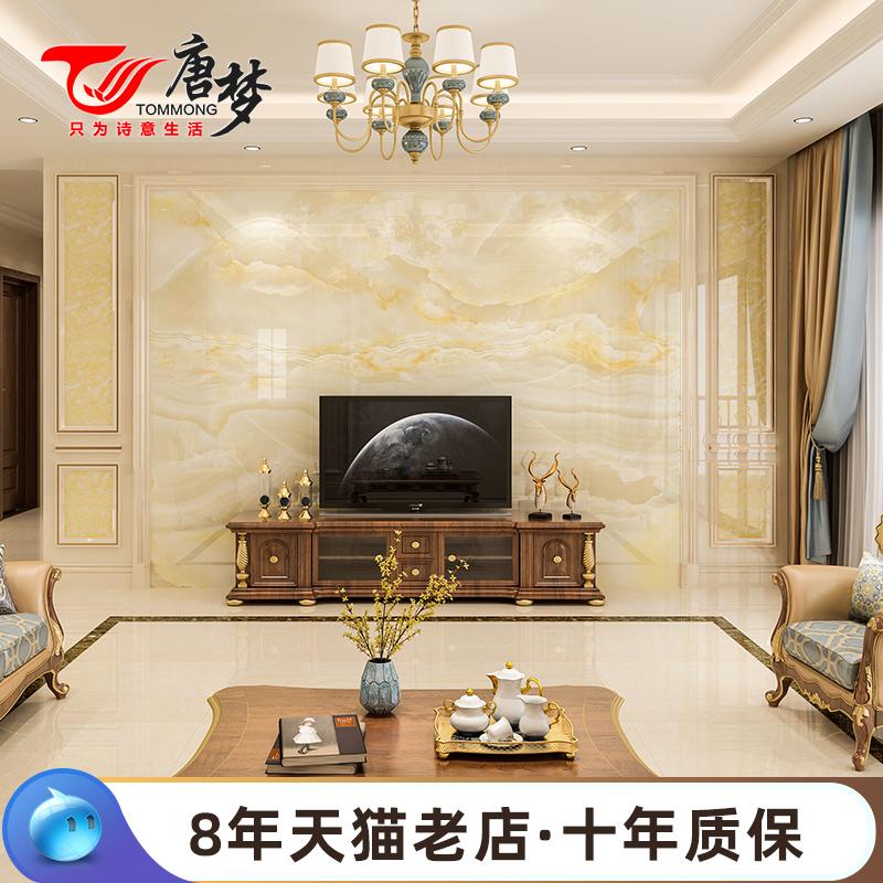 唐梦 大理石电视背景墙瓷砖微晶石欧式客厅石材罗马柱 白云玉月