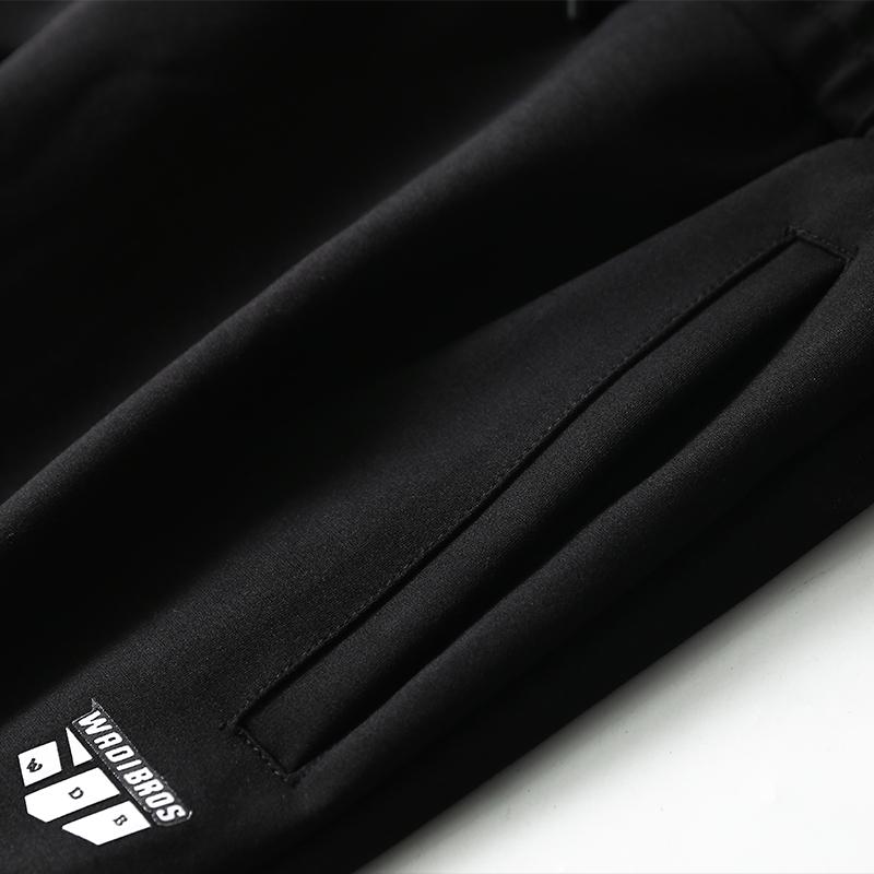 秋冬新款加厚男士长裤贴身束脚休闲裤小腿字母图案抽绳运动裤
