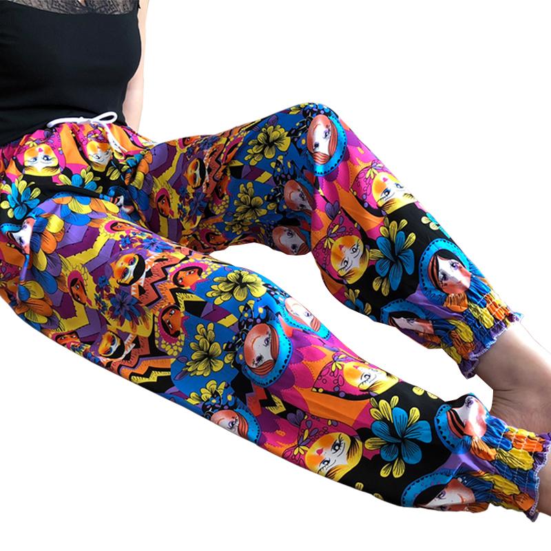 海边女士人造棉绵绸休闲长裤夏季长款宽松睡裤加肥棉绸泰国家居裤