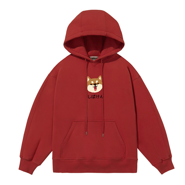 Chai Boddow PROD original new year red sweater female hooded thin velvet loose Korean version of the couple in spring and autumn coat