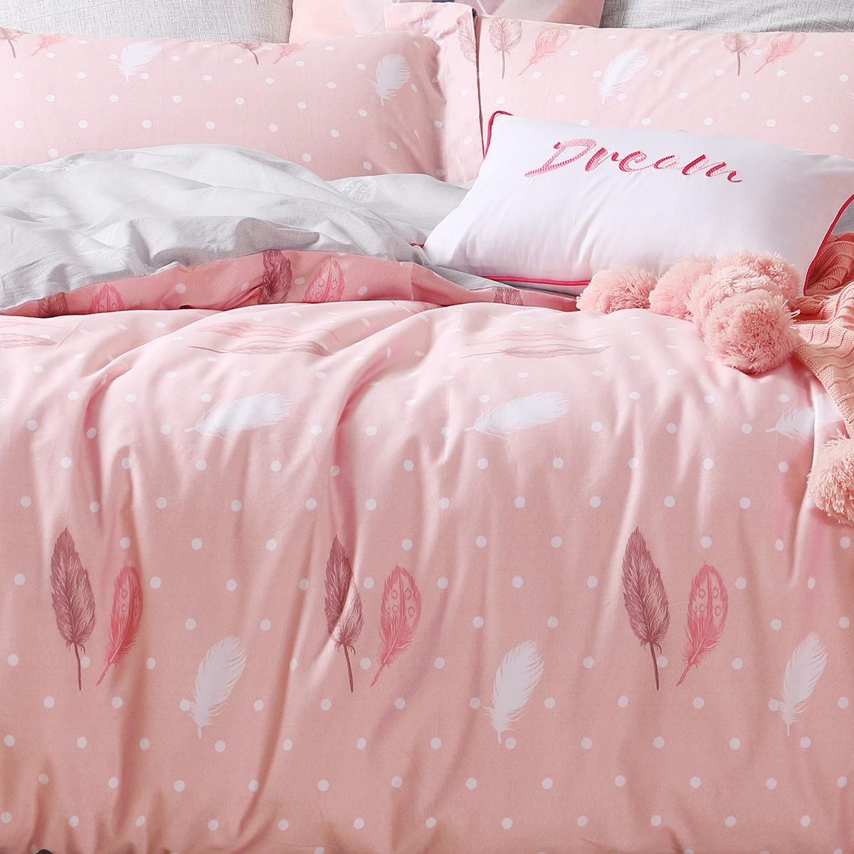 ins 水星家纺纯棉四件套全棉花卉倾颜倾羽双人床上用品床单被罩