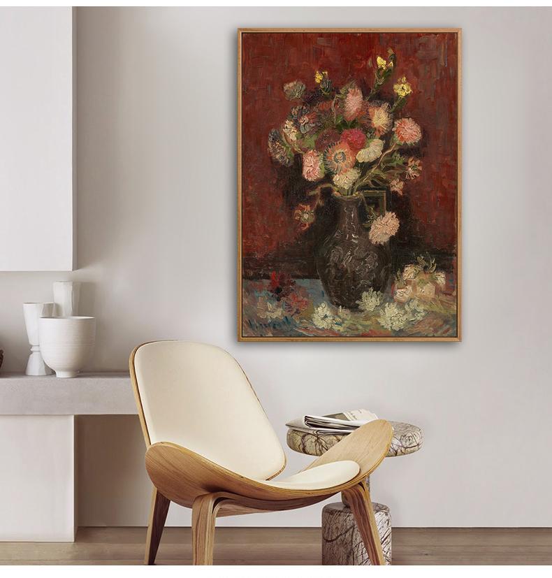 《花》梵高油畫客廳裝飾畫臥室電表箱名畫成品靜物餐廳玄關酒店