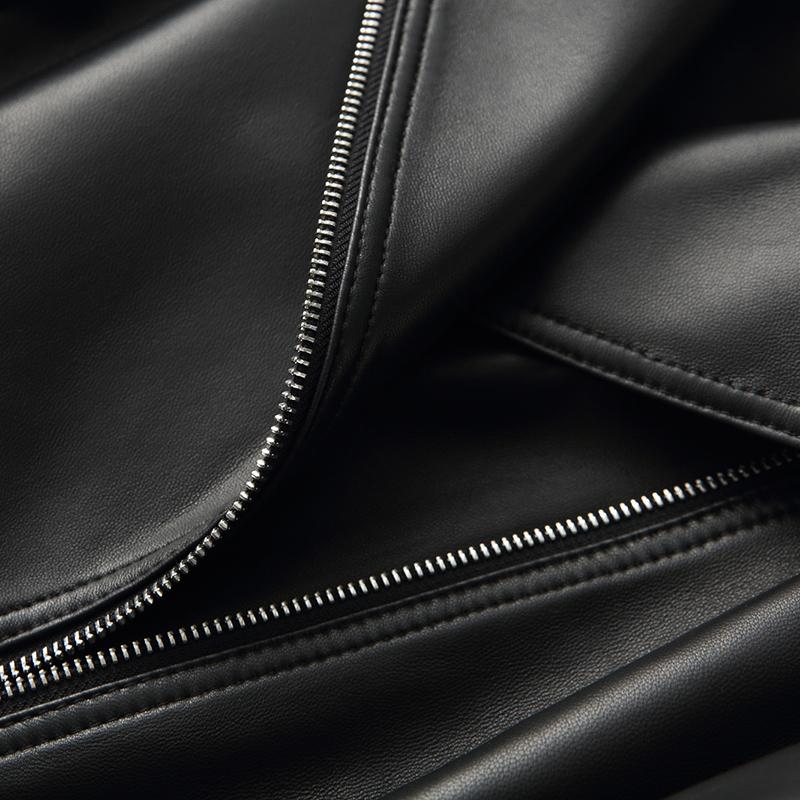 憨厚皇后  2018春季新款短款黑色机车长袖修身真皮皮衣女外套70