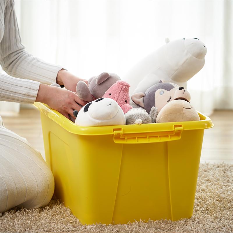 茶花大号58L塑料收纳箱整理箱玩具有盖衣服被子置物储物箱3个装