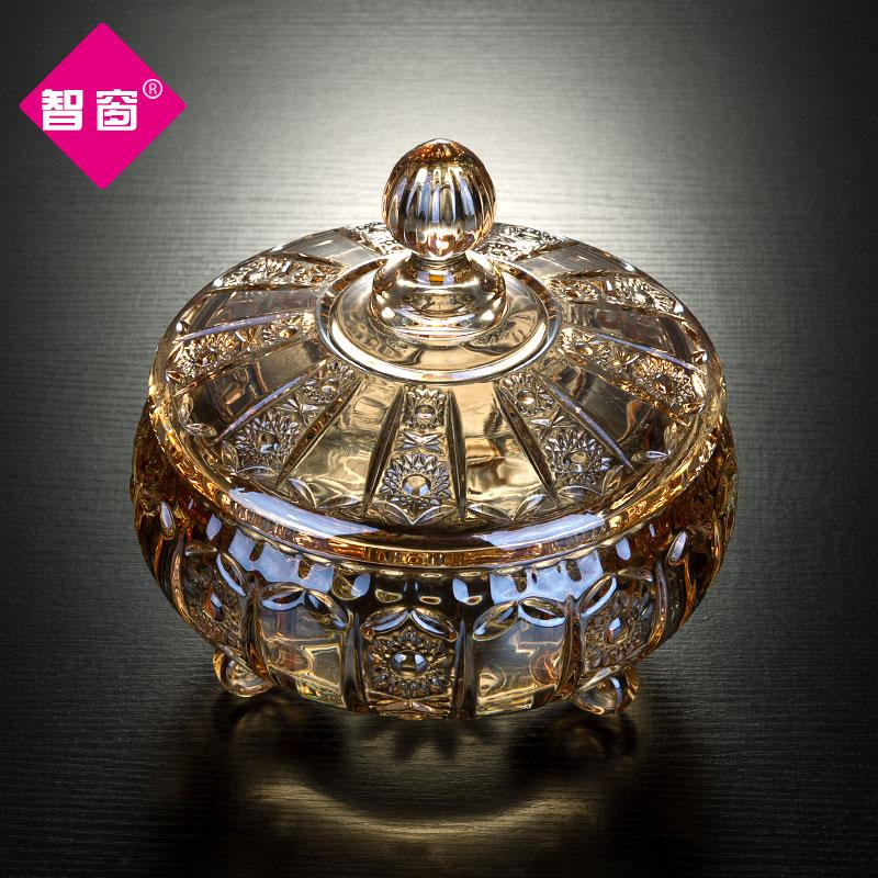 欧式糖罐带盖玻璃果盘家用果盒干果盘客厅茶几创意供盘摆件水果盘