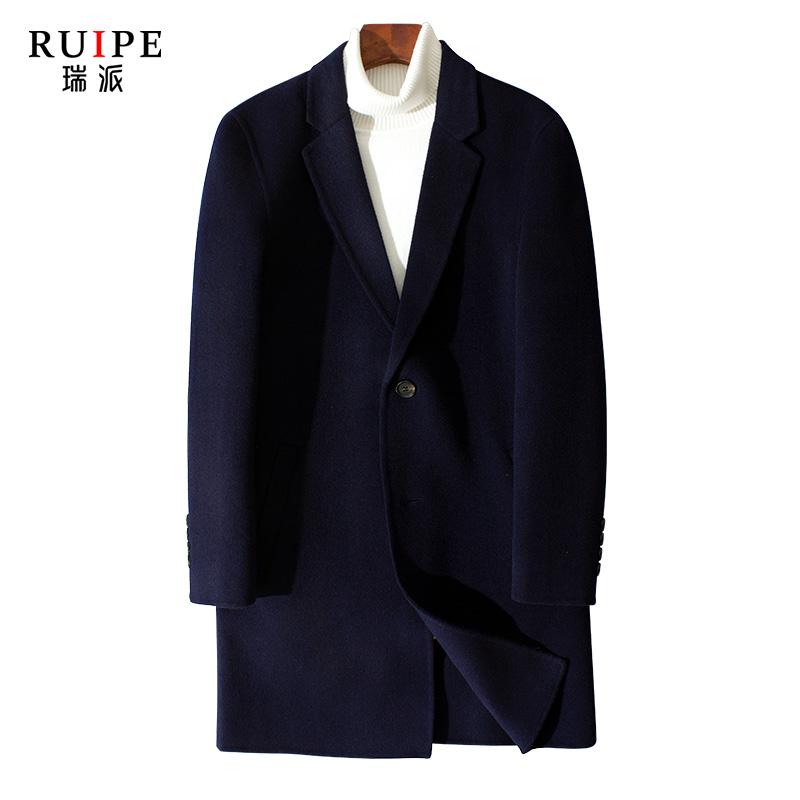 Ruipe男款双面呢冬季羊毛呢子大衣中长款羊绒风衣商务毛呢外套