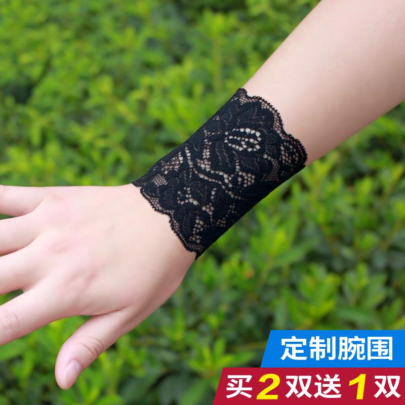 潮女袖套短款夏季薄款蕾丝护腕弹力手腕套遮疤痕纹身蕾丝半指手套