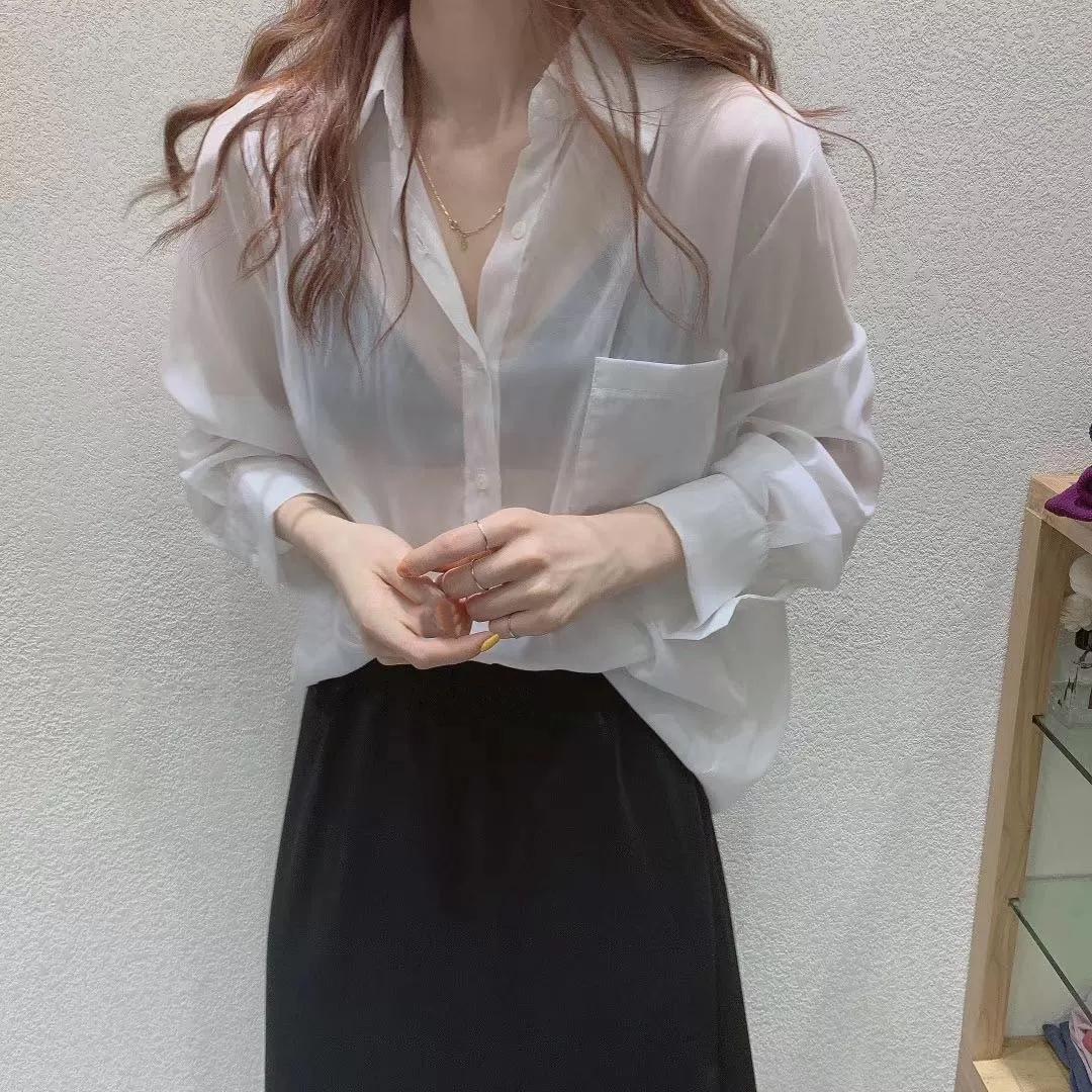 防晒衣衬衫薄纱女夏季薄款珠光2021新款雪纺长袖宽松冰丝开衫女潮主图