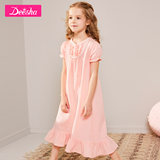 Flute children's clothing girls nightdress in the big boy princess lace home service cotton pajamas dress