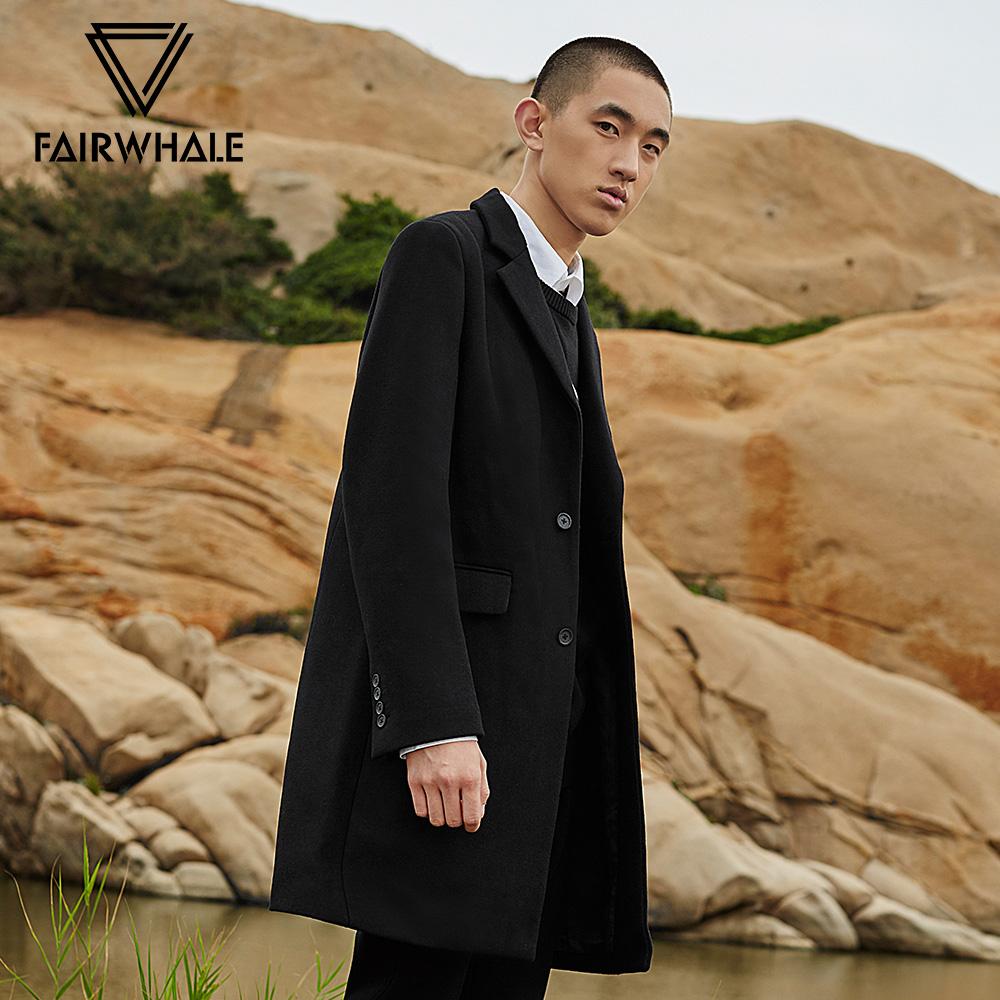 马克华菲毛呢大衣男装秋冬黑色简约纯色修身中长款羊毛呢子上衣