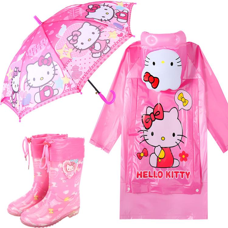 兒童雨衣雨褲套裝kitty寶寶加厚防滑雨鞋 KT貓雨傘凱蒂貓女童雨披