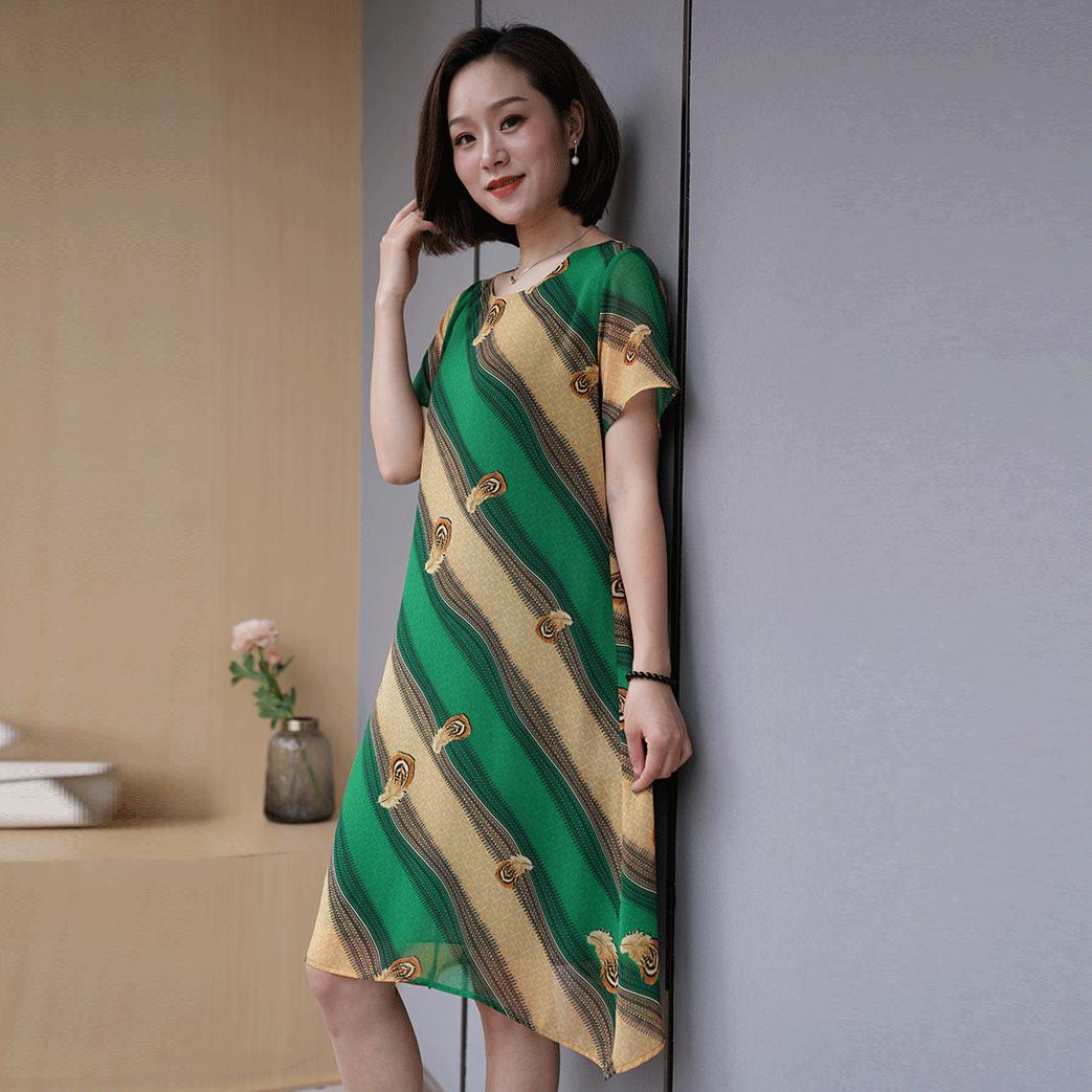 [五十玫瑰/连身裙]知性气质洋气夏季新品中老年妈妈中长款上女装