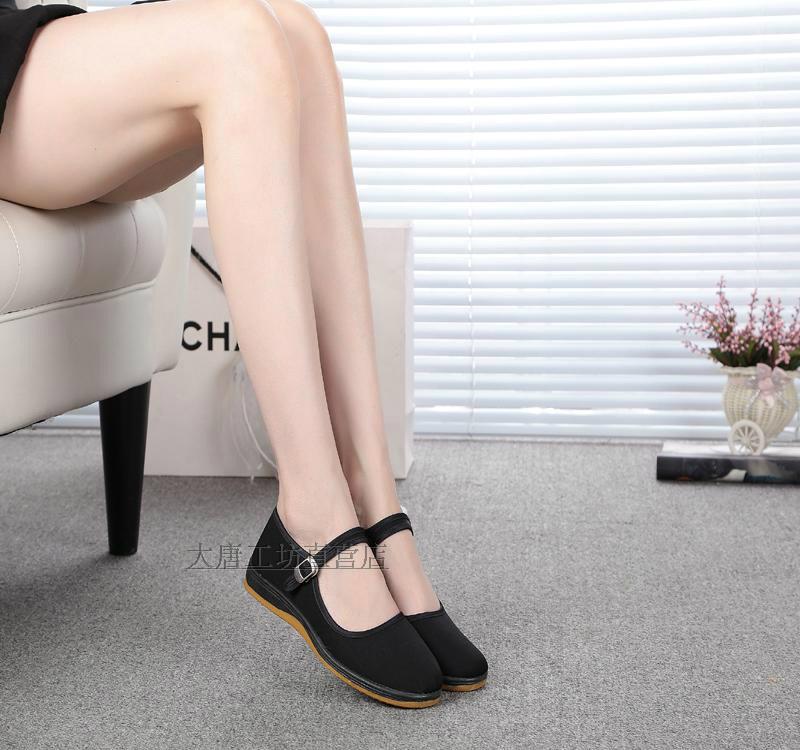 老北京布鞋大唐工坊正品平底布面女鞋黑色工作鞋牛筋軟底大碼單鞋