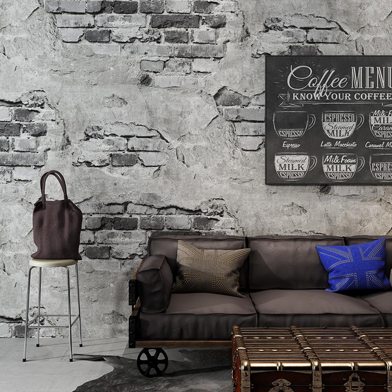 仿古背景墙壁纸 loft 砖纹墙纸砖块砖头复古怀旧灰色水泥砖墙工业风