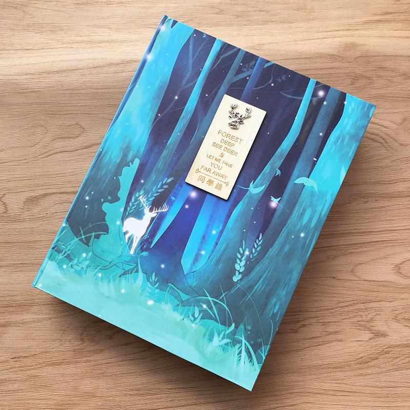 麋鹿缘16K同学录创意小学生通讯录96张活页男女初中生毕业纪念册