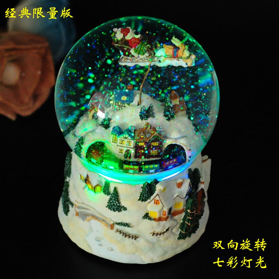 圣诞八音盒音乐盒水晶球创意旋转雪花闺蜜女生生日礼品情人节礼物