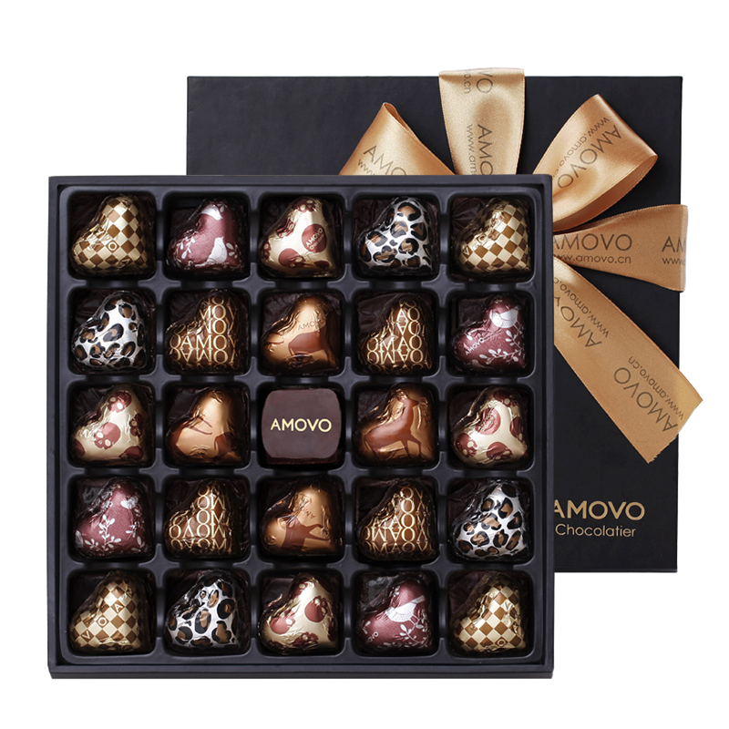 amovo魔吻高端手工心形巧克力礼盒装生日情人节新年礼物送人男友