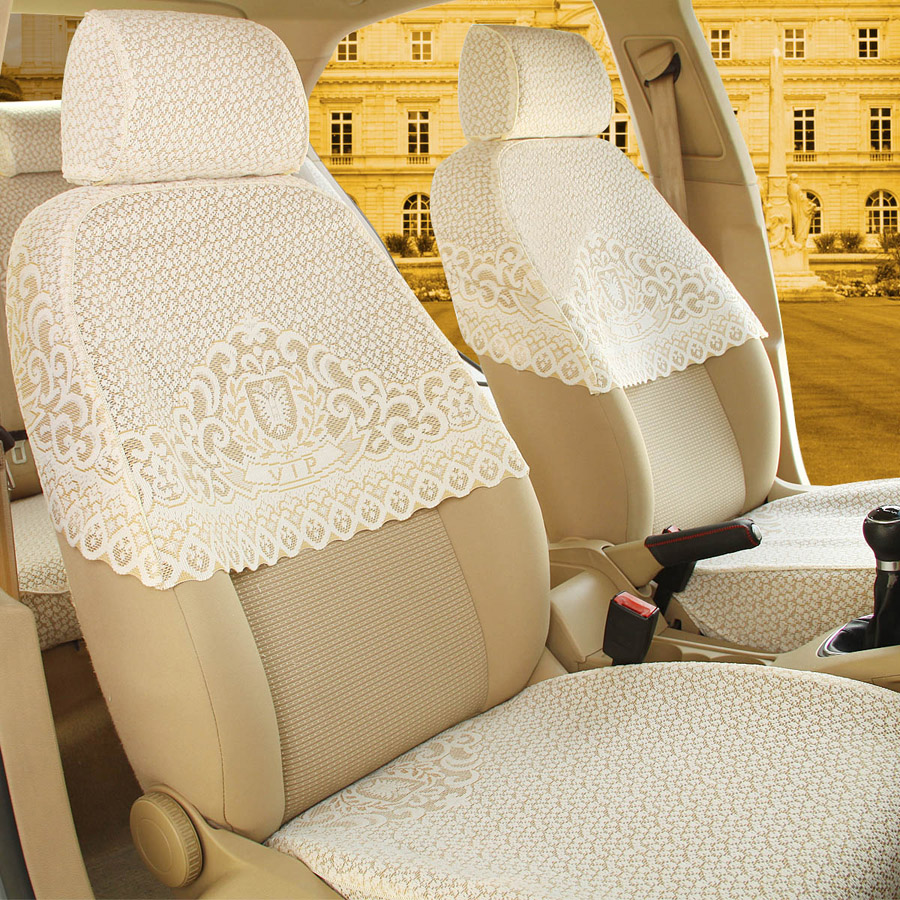 蕾丝座套汽车半截套半包加厚布艺汽车坐垫全包车套椅套座椅套秋冬