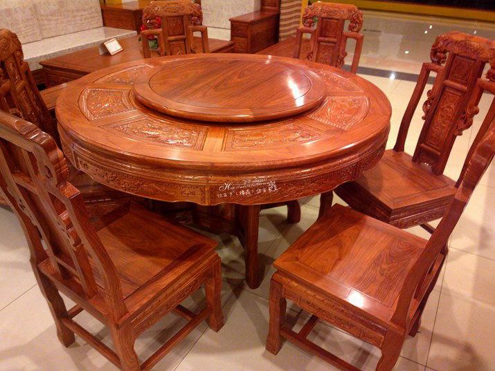 特价 精雕圆餐桌7/9/11件套 非洲花梨木圆台餐椅仿古实木红木家具