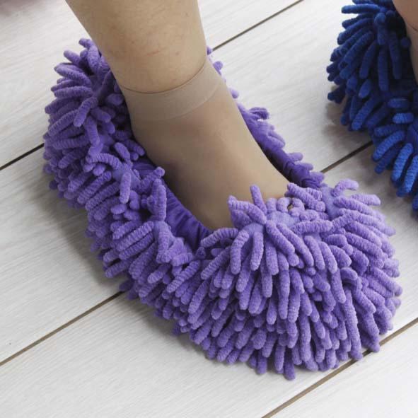 毛绒客人拖 雪尼尔懒人鞋套擦地拖鞋 地板清洁脚套拖 拖把头抹布