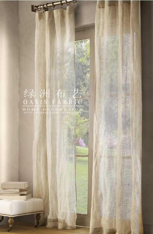 天然純亞麻窗紗法國飄窗亞麻紗北歐法式簡約窗簾紗簾定製(原色)