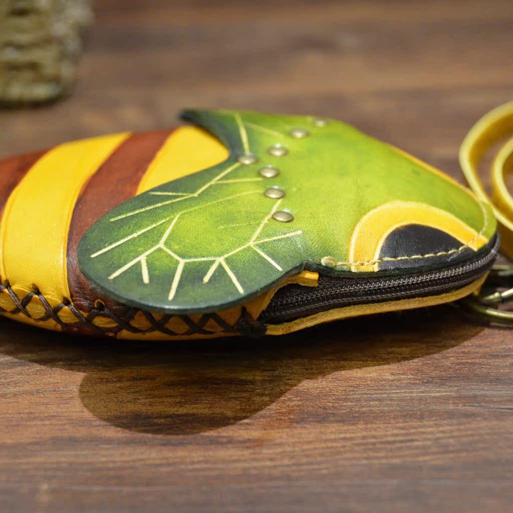 女手工真皮零钱包卡通小钱包迷你硬币包可爱钥匙包创意小礼品蜜蜂