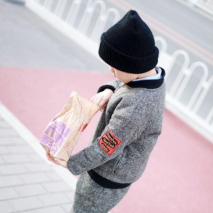 坦童原创自制旅行路标洋气花线棉质绅士马甲套装夹克外套三件套