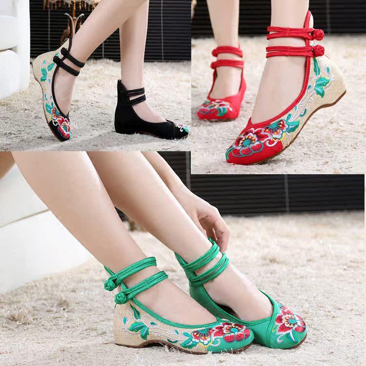 女童绣花鞋女亲子儿童老北京布鞋小女孩公主鞋帆布鞋中小童演出鞋