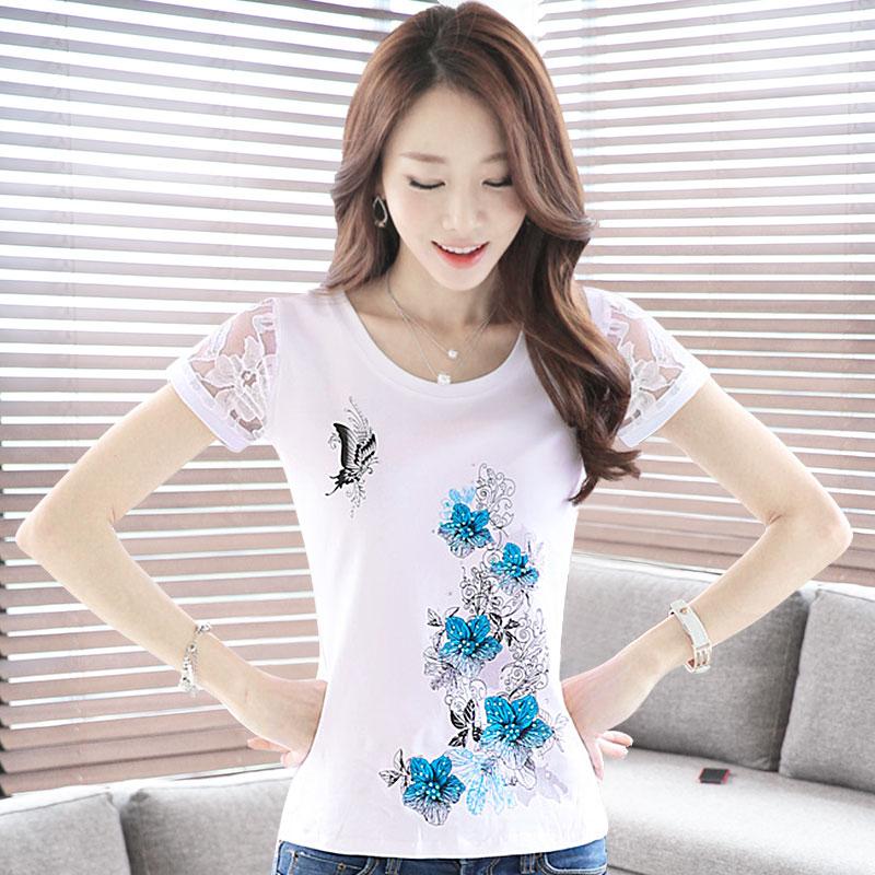 白色短袖t恤女夏装2019新款修身大码打底衫妈妈上衣体恤内搭半袖