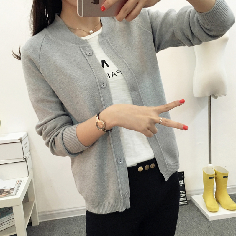 針織開衫女2018秋冬新款韓版外搭空調衫百搭短款小披肩毛衣外套女
