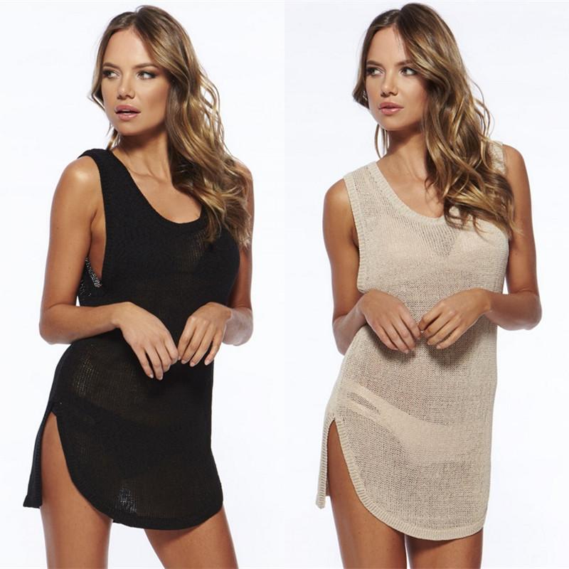 防晒沙灘黑色杏色無袖背心罩衣性感針織鏤空比基尼泳衣罩衫沙灘裙