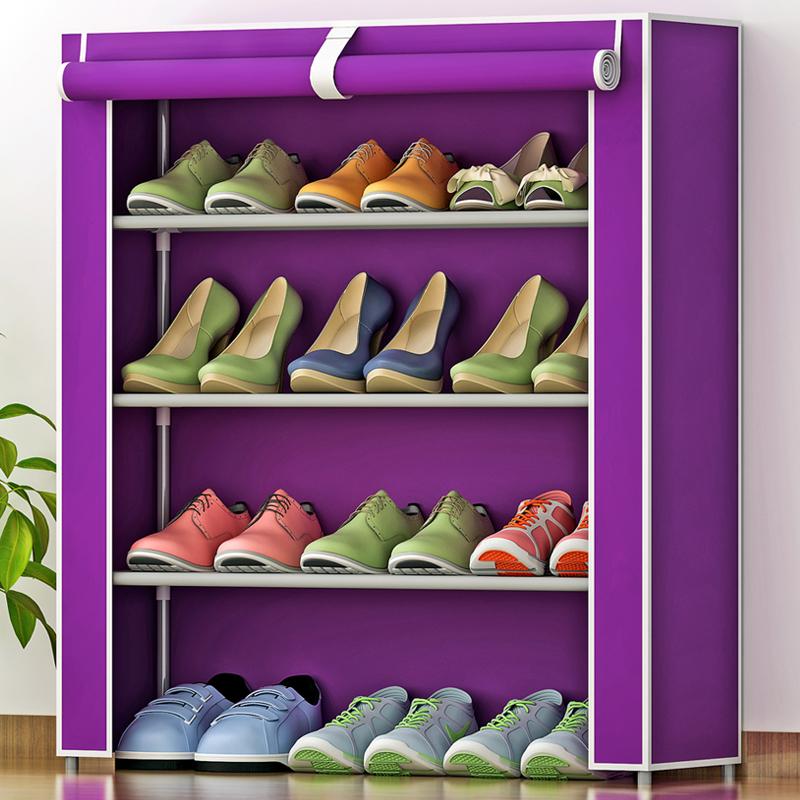 索爾諾簡易防塵鞋架 加厚無紡布鞋櫃 創意組合四層鞋櫥