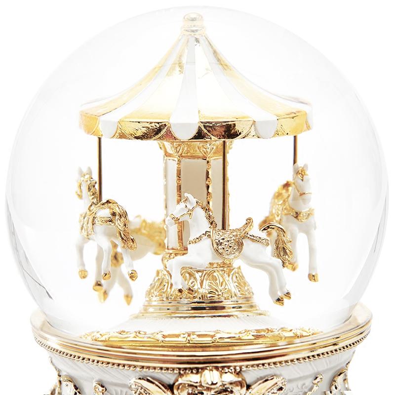 jarll 音乐盒八音盒水晶球旋转木马女生女孩儿童生日礼物欧式雪花