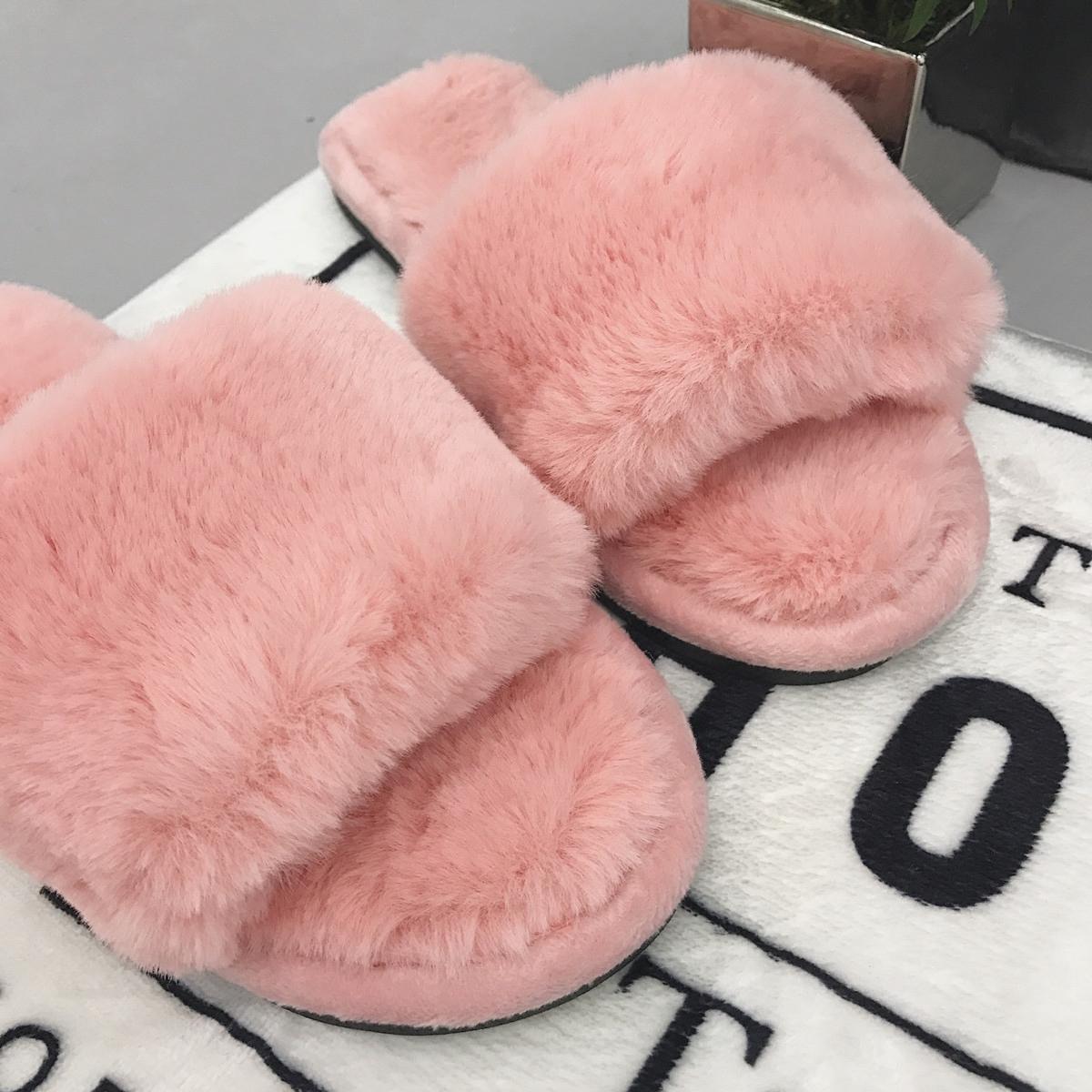 棉拖鞋女韩国秋冬季室内居家居防滑舒适保暖一字绒毛毛拖鞋地板鞋
