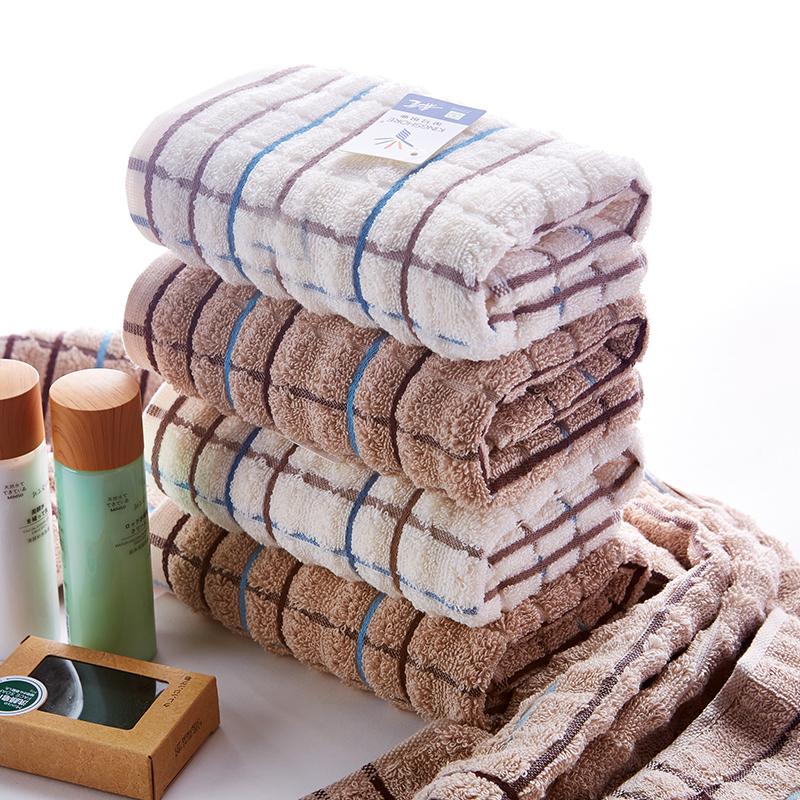 金號毛巾純棉加厚吸水吸汗面巾 全棉柔軟紗布經典格子情侶面巾