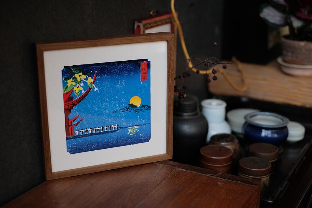 商店 印象西湖 平湖秋月 和风日式浮世绘玄关装饰画 手印版画