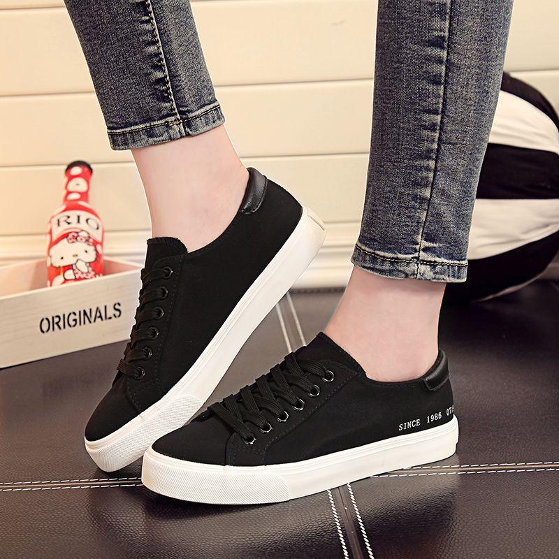 人本韓版女士淺口透氣帆布鞋經典低幫休閒女鞋學生簡約黑色鞋子潮