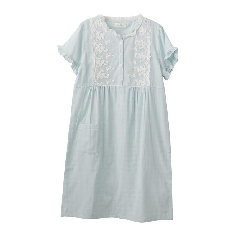夏季新款日系奢华蕾丝公主睡裙女纯棉纱布大码睡衣裙子短袖家居服