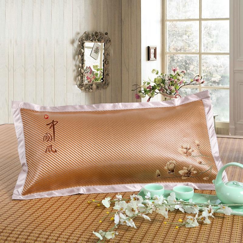 夏季冰藤夏涼枕頭夏天冰絲涼蓆蕎麥殼皮茶枕芯成人透氣涼爽印尼藤