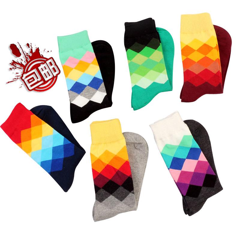 Happy socks潮牌英倫風格子漸變色休閒男士女純棉中長筒襪子個性